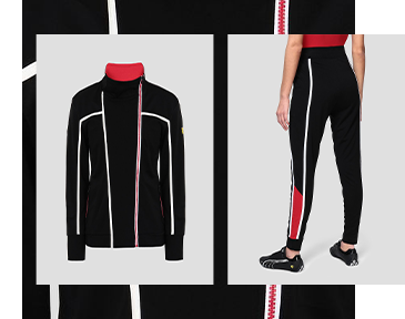 CLOSE UP ON THE BACK LEGS OF THE WOMAN WEARING BLACK, WHITE AND RED MILANO RIB JOGGERS WITH SWEATSHIRT IN MILANO RIB