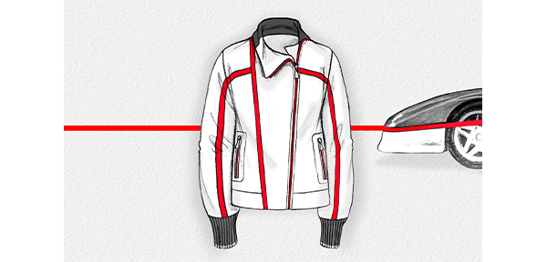 SKETCH OF THE ZIPPERED SWEATSHIRT AND THE FRONT OF A CAR