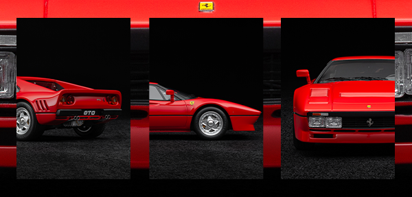 FERRARI 288 GTO 1:18 SCALE MODEL FROM THREE POINTS OF VIEW