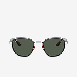 RAY-BAN FOR SCUDERIA FERRARI SUNGLASSES WITH DARK-GREEN LENSES SEEN FROM TWO DIFFERENT SIDES.