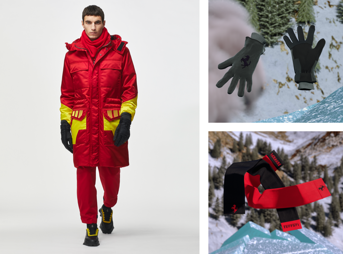 Red parka with gloves and scarf