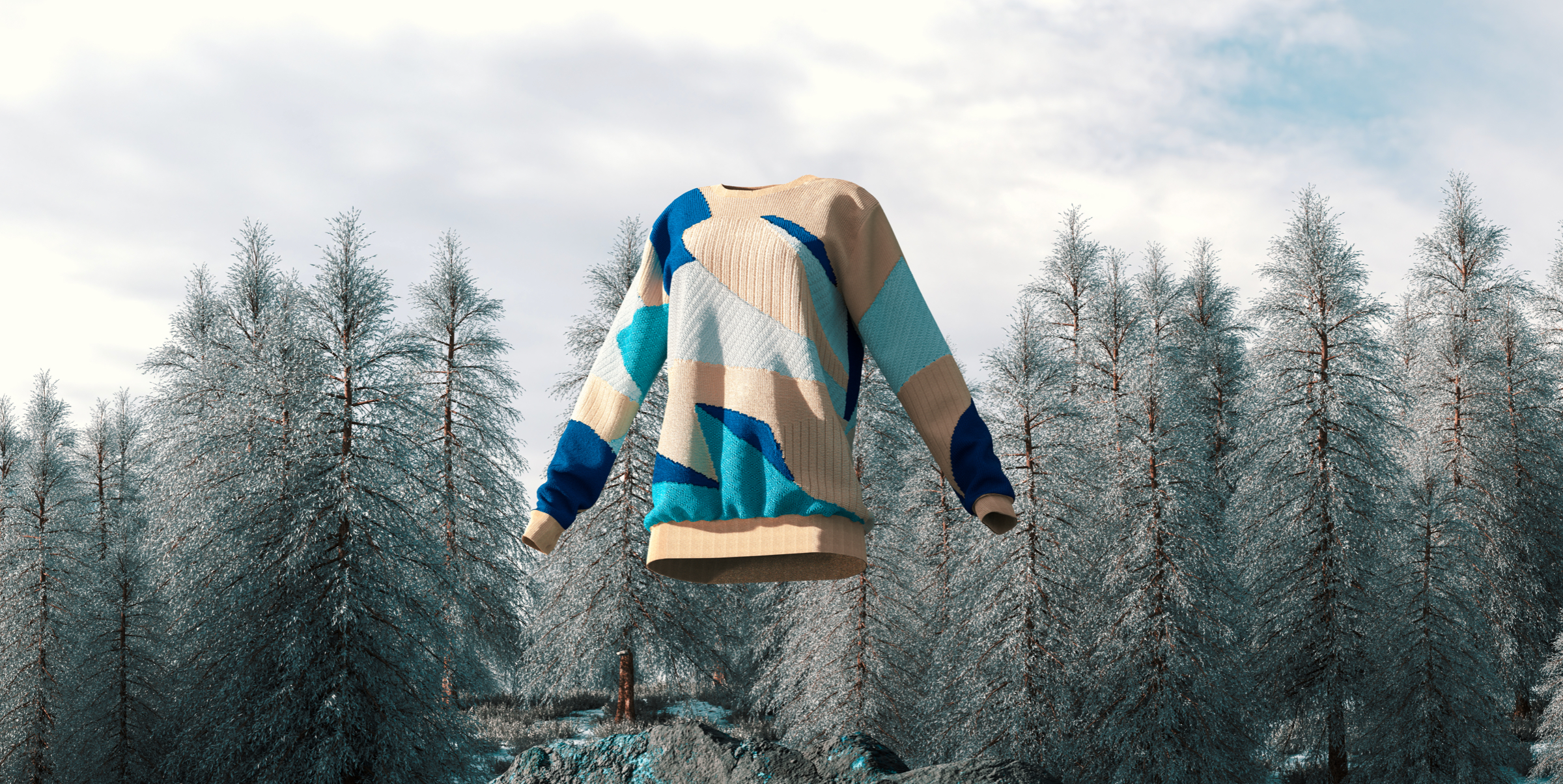 Wool sweater in a mountain background